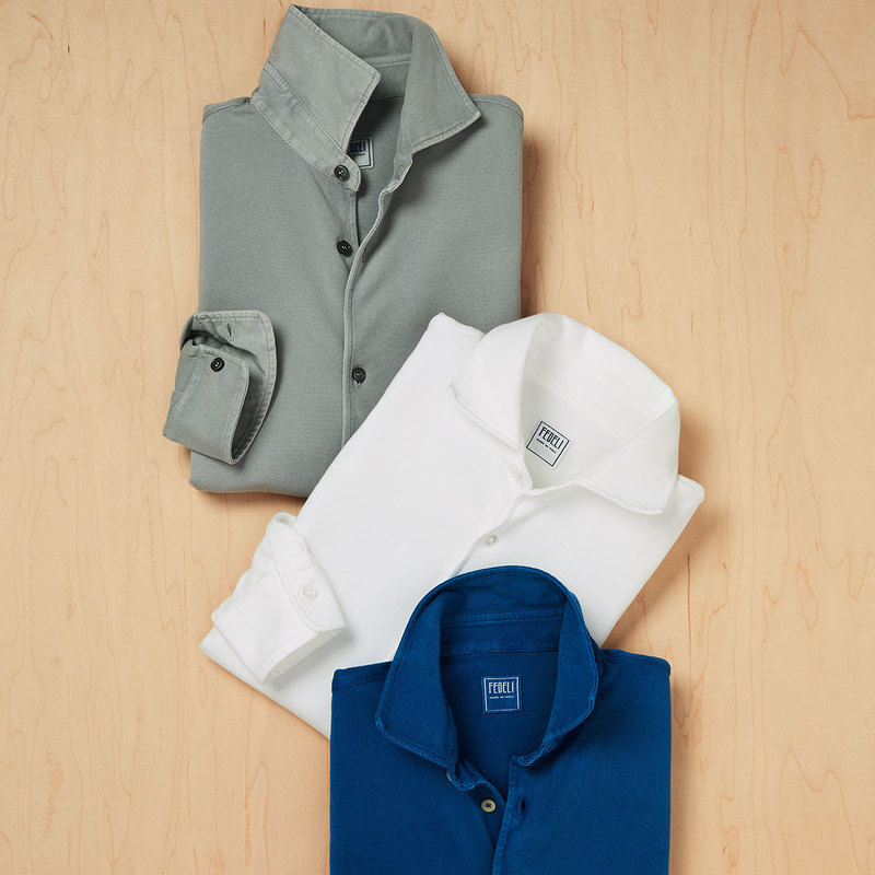 The knit shirt is a Spring Staple. The silhouette of a dress shirt, but the fabric of a polo. A knit shirt looks just