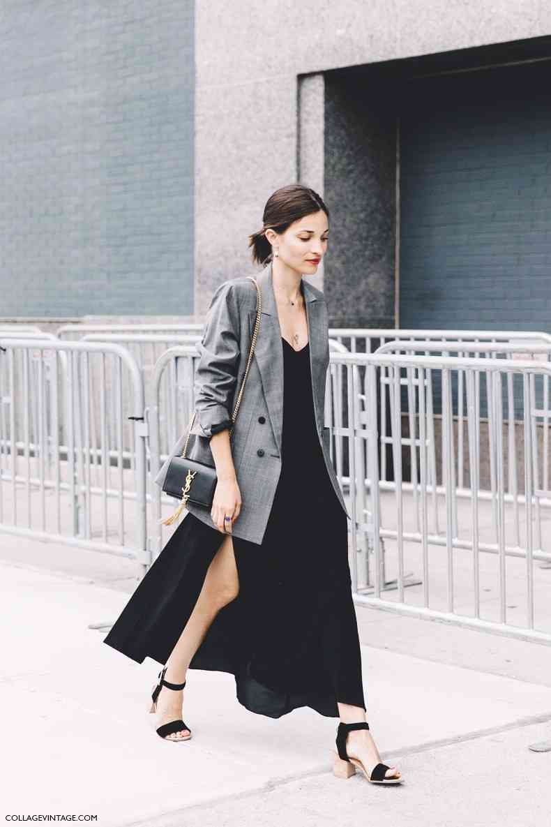 New york fashion week spring summer 2016 street style maria due%c3%b1as jacobs grey blazer long dress saint laurent bag 2 790x1185