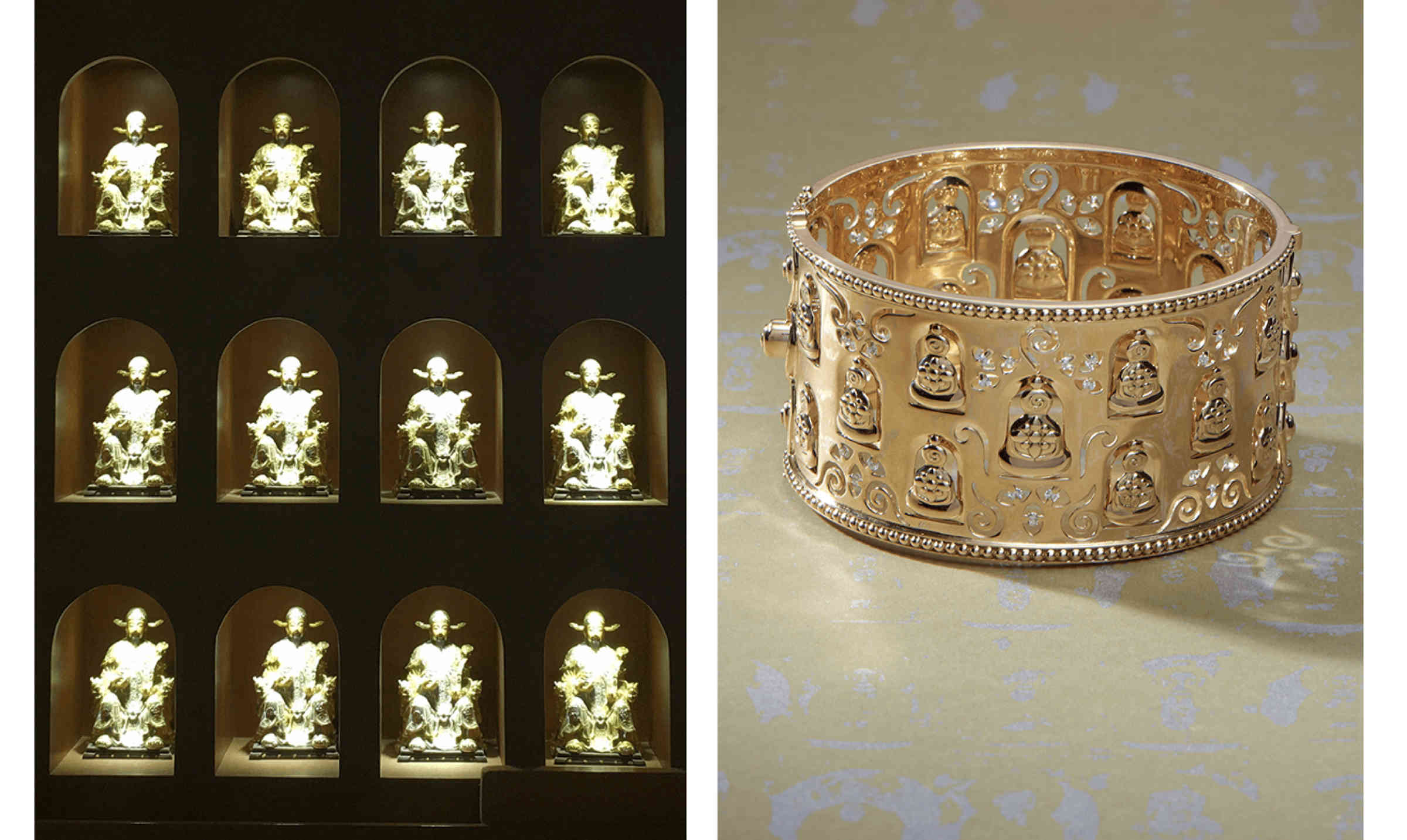 Wall of Buddhas in the Big Wild Goose Pagoda in Xi'an and Temple St. Clair 18K Thousand Buddha Bracelet