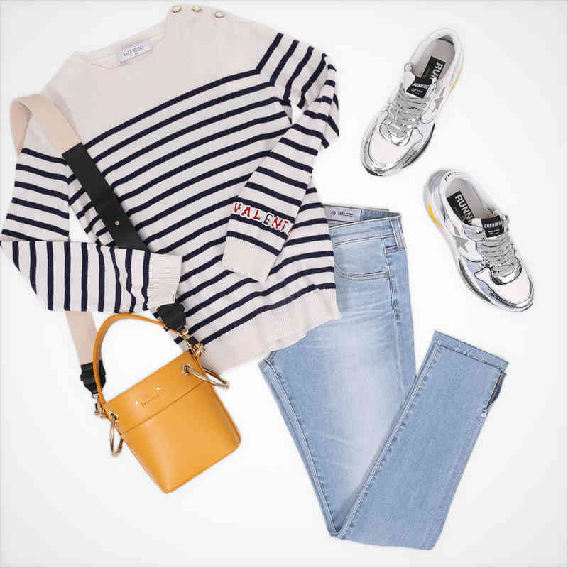 Denim with stripes