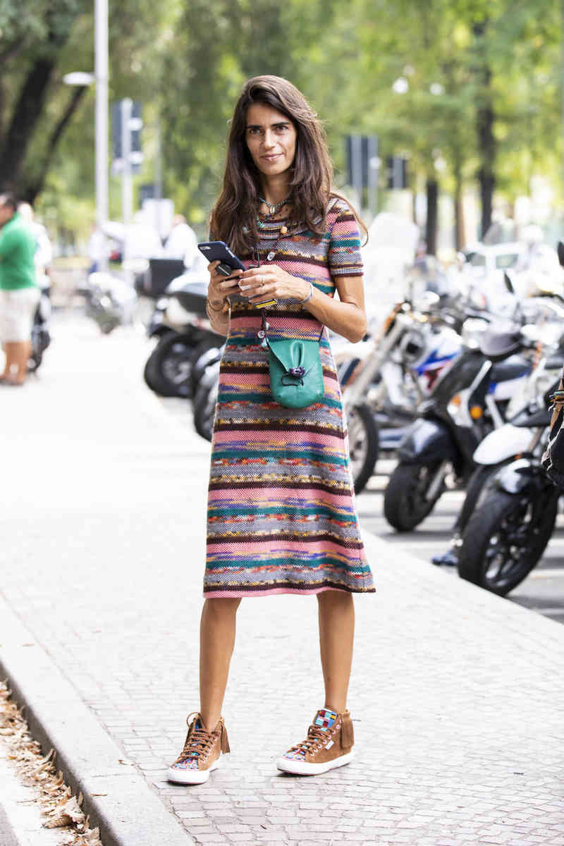 Knit Dress with sneakers
