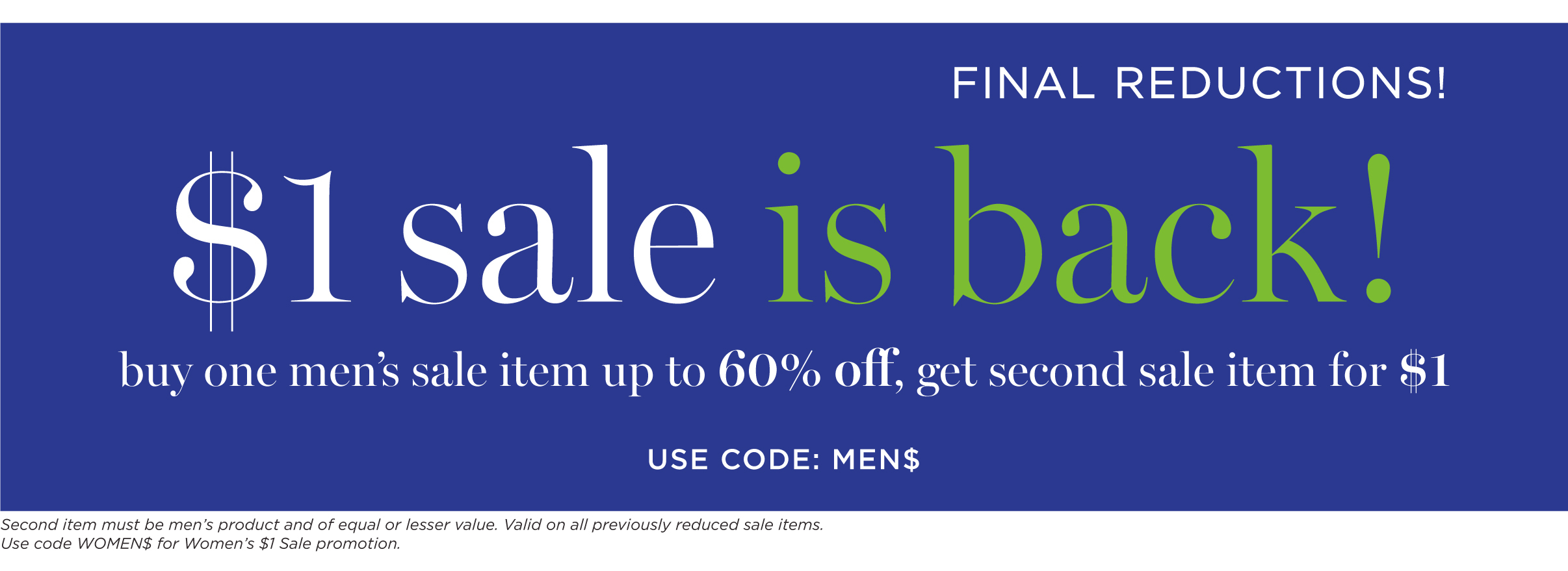 $1 sale is back