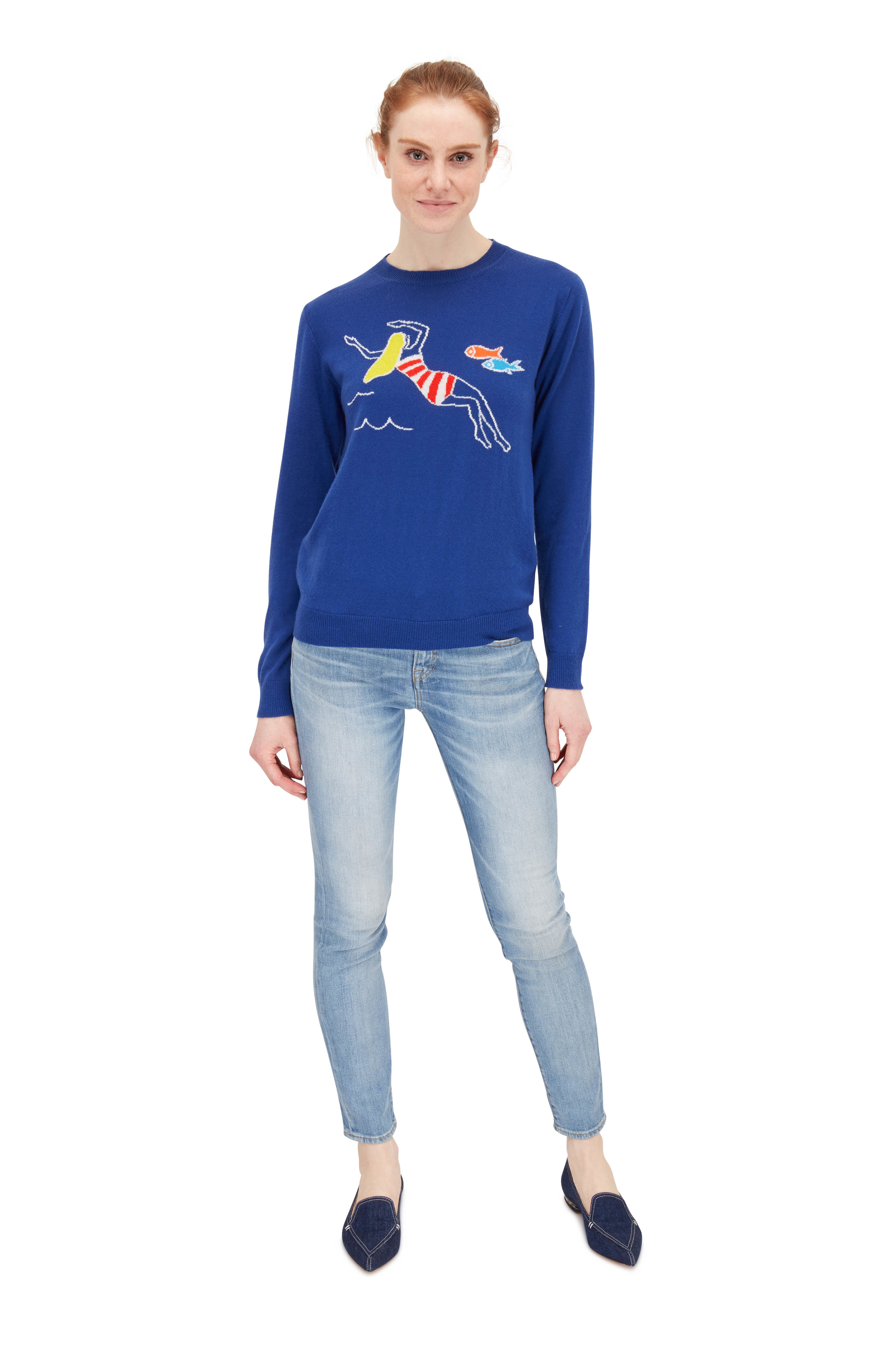 French Navy Swimmer & Fish Cashmere Sweater | Designer