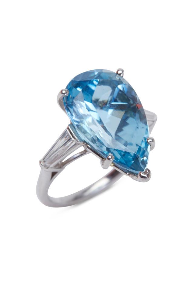 Platinum Aquamarine Diamond Cocktail Ring