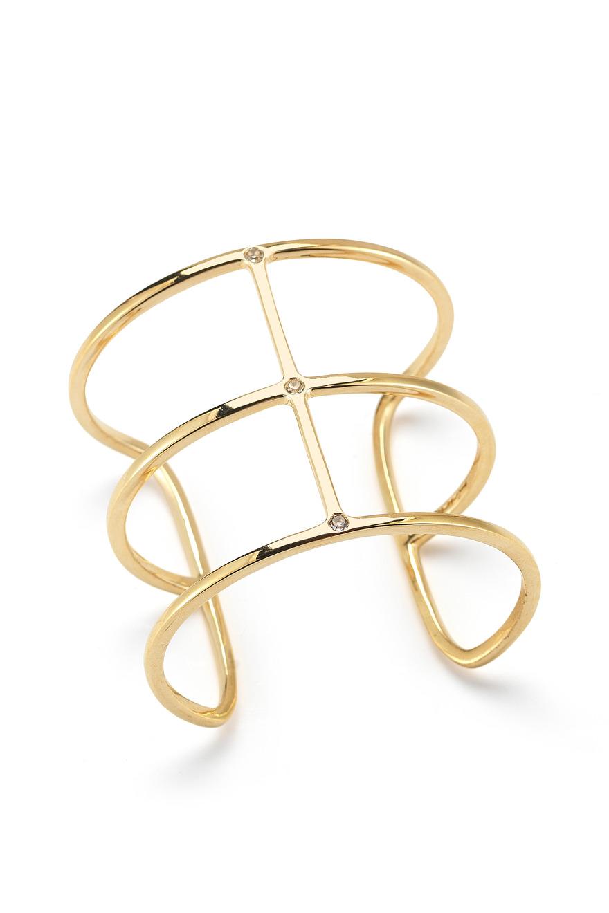 Berlin Gold Plated Multi Band Topaz Cuff Bracelet