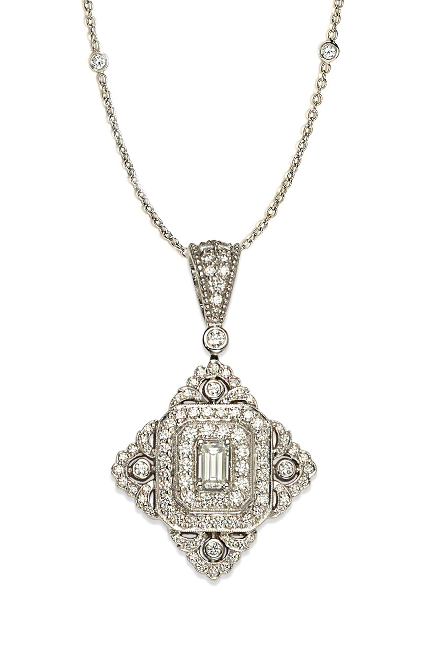 White Gold Vintage Clip-On Pendant