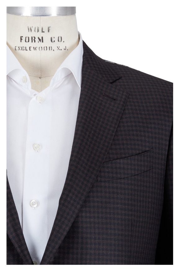 Ermenegildo Zegna Brown Check Wool Sportcoat