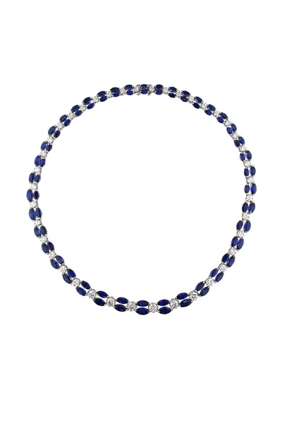 Oscar Heyman - Platinum 2 Row Blue Sapphire Diamond Necklace