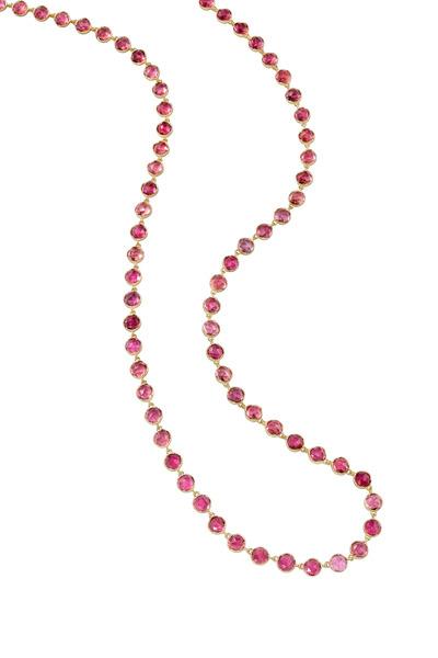 Irene Neuwirth - Yellow Gold Cabochon Pink Tourmaline Necklace