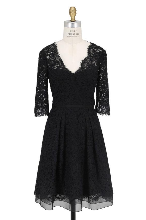 Carolina Herrera Icon Collection Black Lace Elbow Sleeve Dress