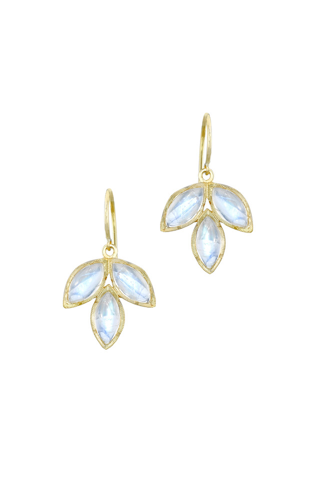 Yellow Gold Marquise Rainbow Moonstone Earrings