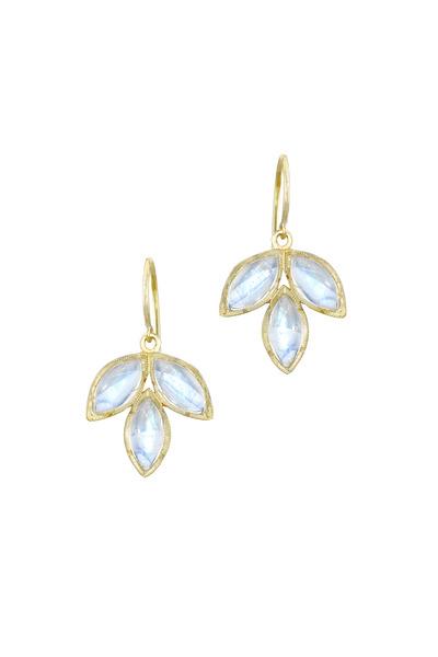 Irene Neuwirth - Yellow Gold Marquise Rainbow Moonstone Earrings