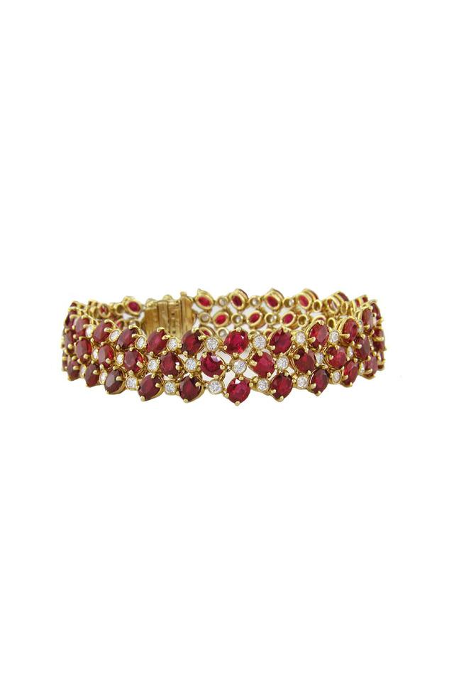 Yellow Gold Ruby Diamond Bracelet
