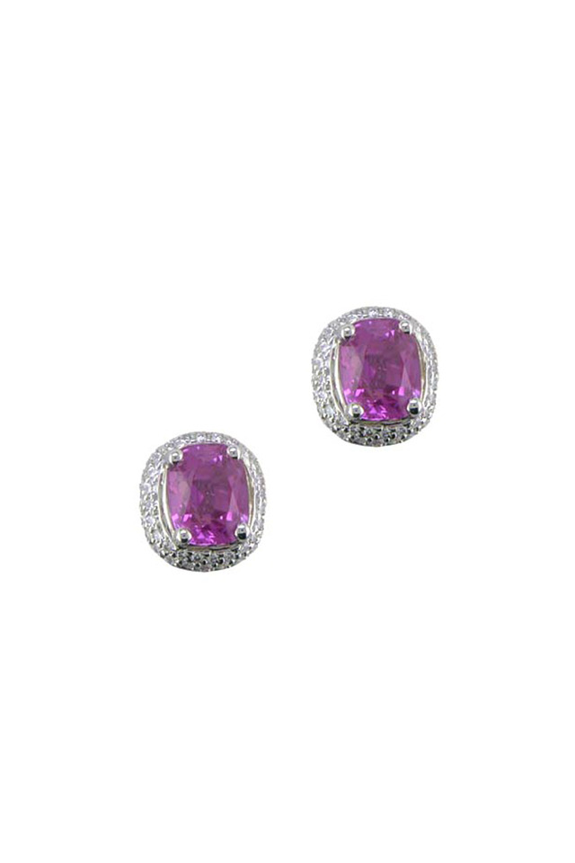 Platinum Pink Sapphire & Diamond Studs