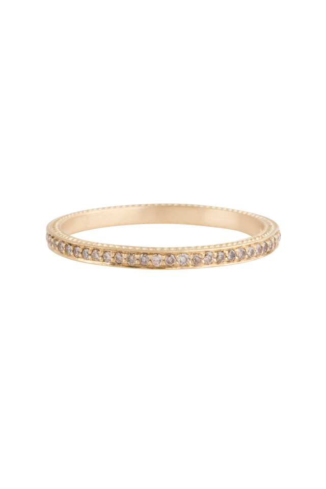 Yellow Gold Thin Pavé-Set Cognac Diamond Band
