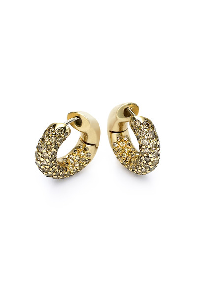 Kathleen Dughi - Yellow Gold Cognac Diamond Huggie Hoop Earrings