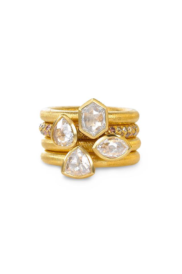 22K Yellow Gold Diamond Four Band Ring