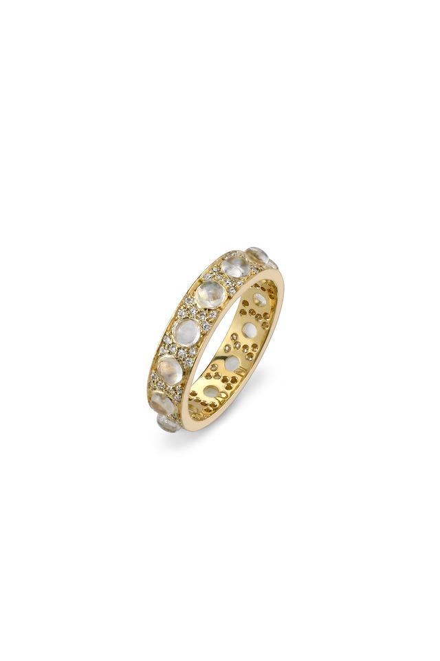 Gold Rainbow Moonstone Pavé-Set Diamond Ring