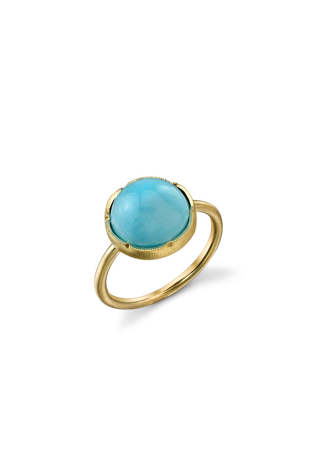 Yellow Gold Turquoise Stack Ring