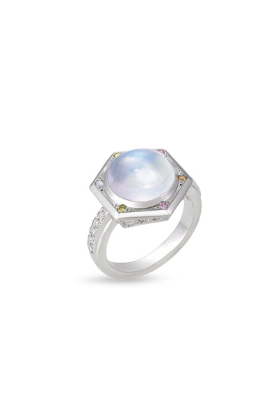 Kathleen Dughi - Gypsy Platinum Moonstone Diamond Ring