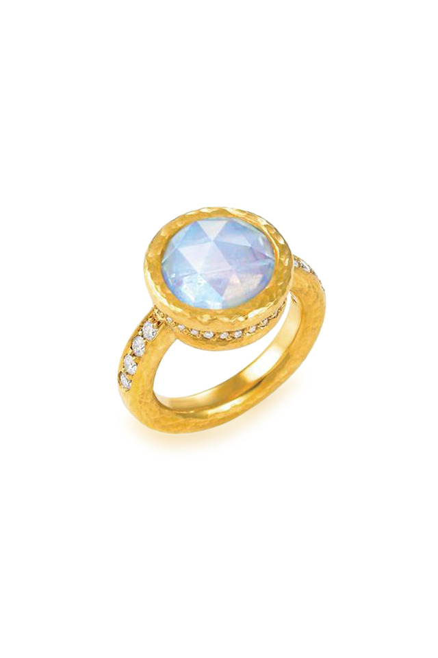 Athena Yellow Gold Moonstone Diamond Ring
