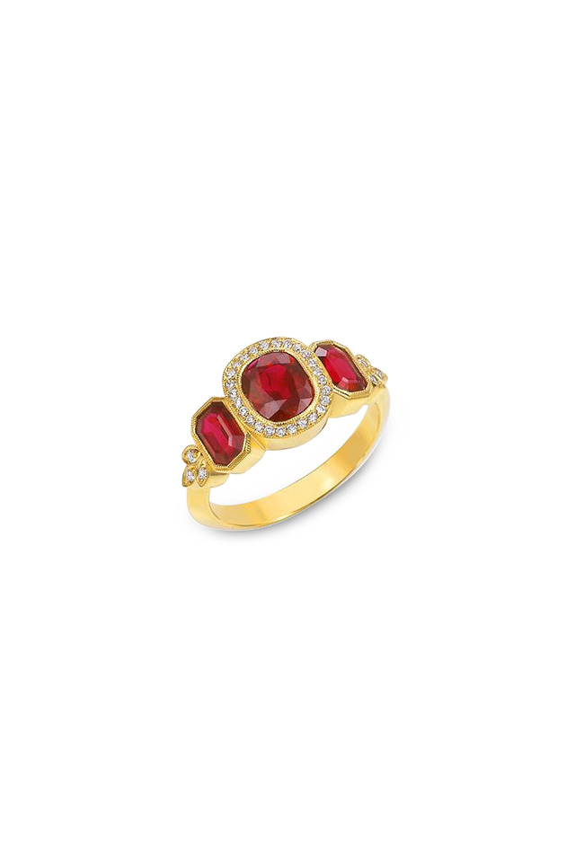 Sholeh Yellow Gold Ruby Diamond Ring