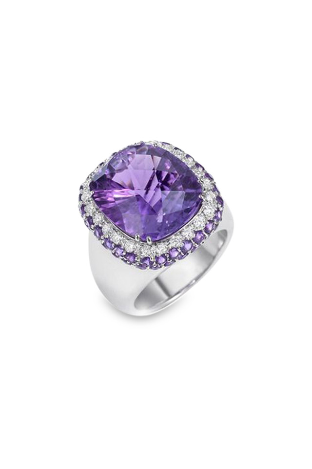 18K White Gold Amethyst & Diamond Ring