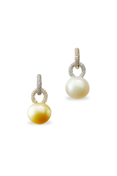 Kathleen Dughi - Gold South Sea Pearl Diamond Drop Earrings