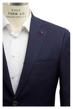 Isaia - Navy Blue Worsted Wool Sportcoat