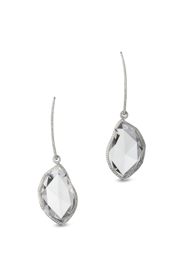 White Gold Rock Crystal Diamond Earrings