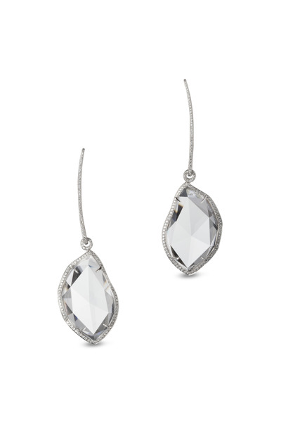 Kathleen Dughi - White Gold Rock Crystal Diamond Earrings