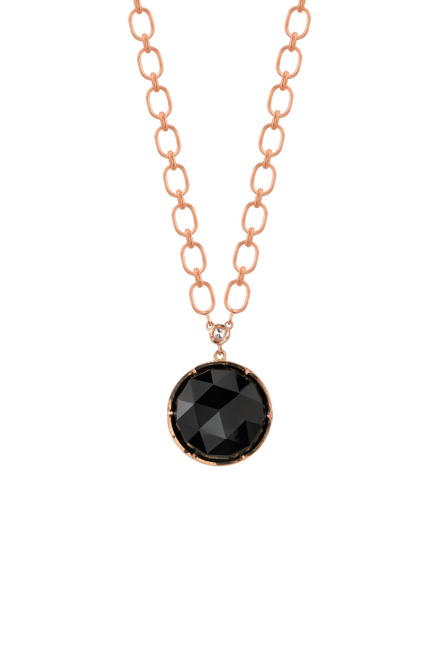 Rose Gold Black Onyx Diamond Pendant Necklace