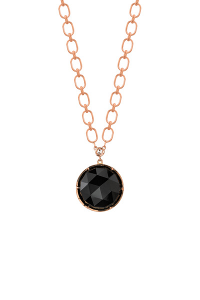 Irene Neuwirth - Rose Gold Black Onyx Diamond Pendant Necklace