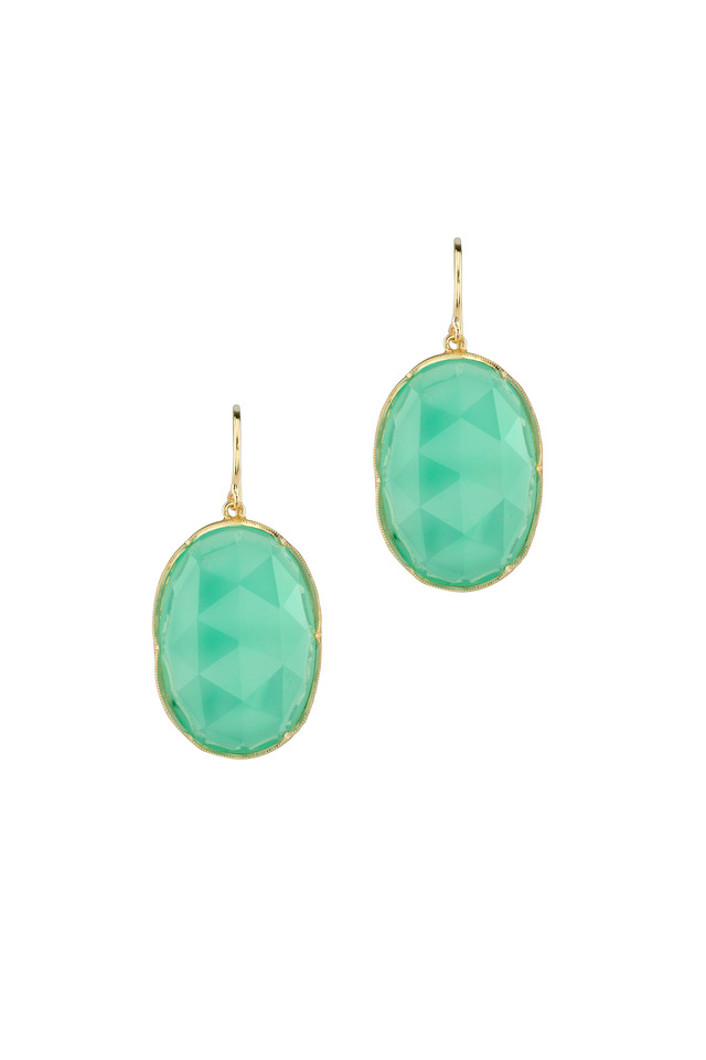 Yellow Gold Oval Chrysoprase Dangle Earrings