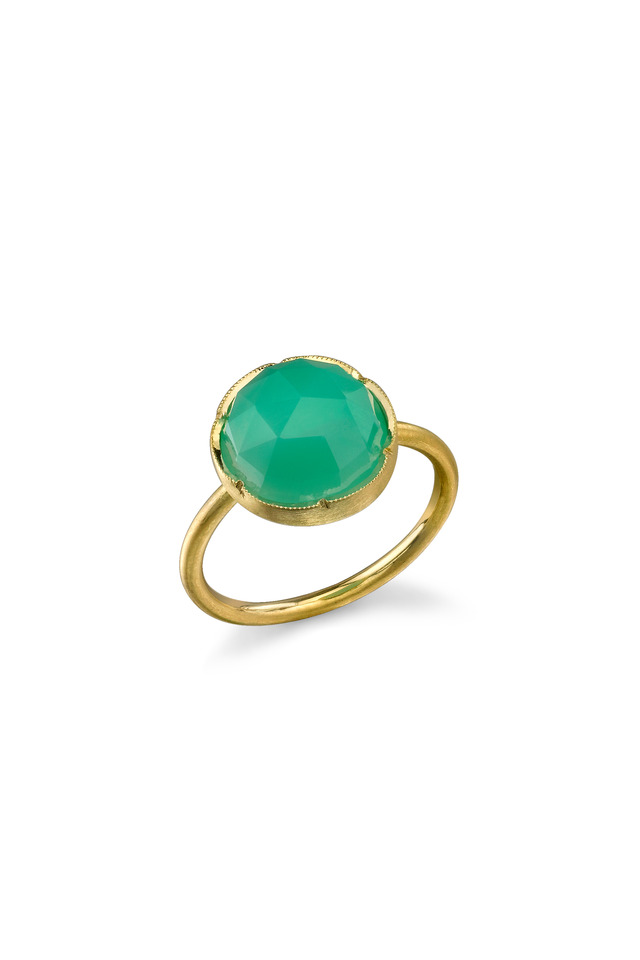 Yellow Gold Chrysoprase Stackable Ring