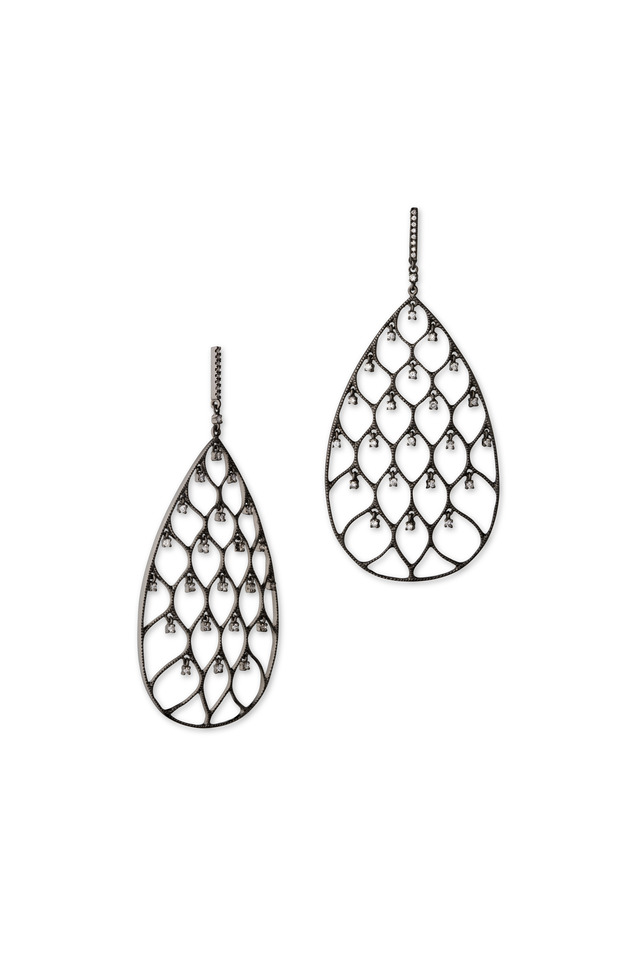 18K Black Gold Black Diamond Teardrop Earrings