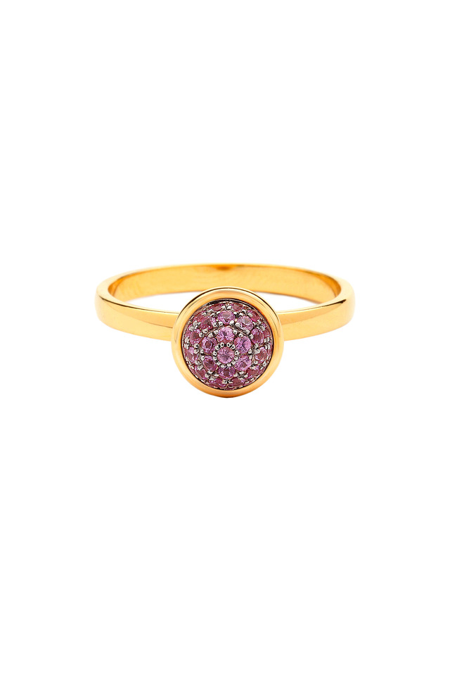 Yellow Gold Pink Sapphire Stack Ring