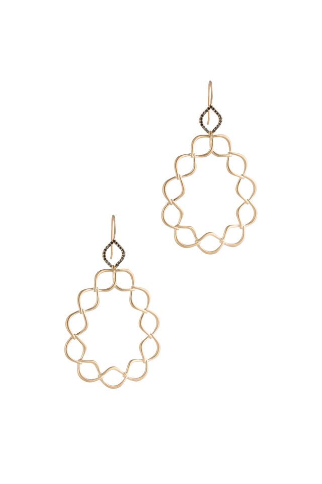 Aladdin Yellow Gold Woven Link Diamond Earrings