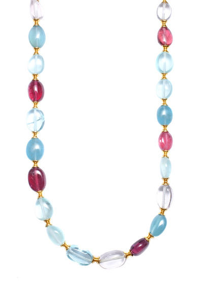 Syna - Yellow Gold Aqua & Pink Tourmaline Bead Necklace