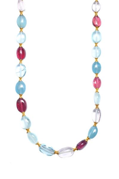 Syna - Yellow Gold Aqua & Pink Tourmaline Bead Necklace