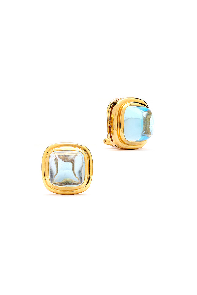 White Gold Blue Topaz Sugarloaf Button Earrings