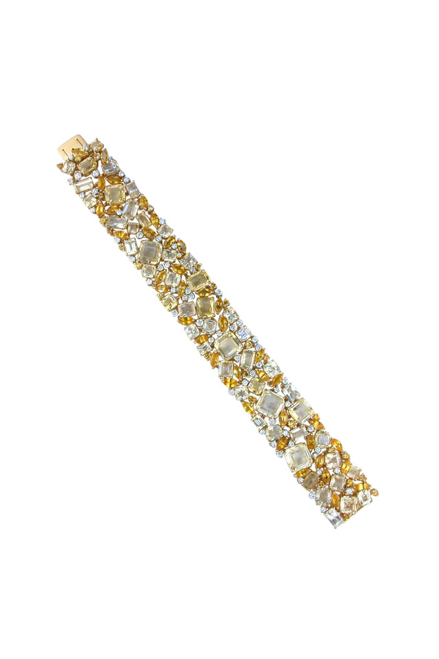 Platinum Yellow Sapphire Diamond Bracelet