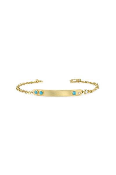 Irene Neuwirth - Gold Diamond Turquoise Cabochon ID Bracelet
