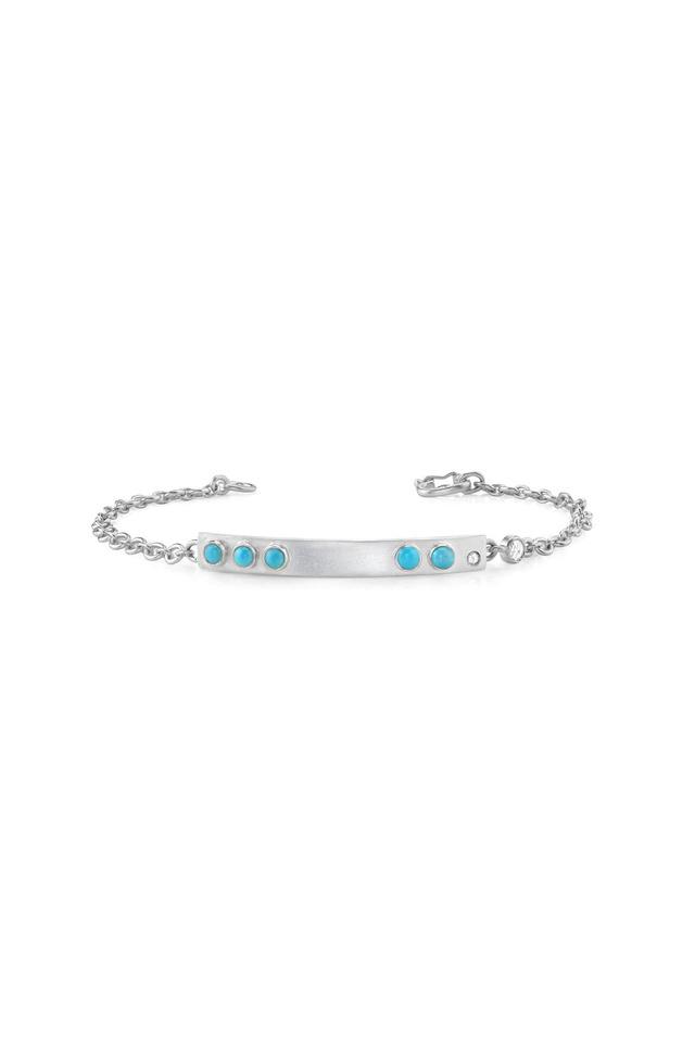 White Gold Turquoise Rose-Cut Diamond ID Bracelet