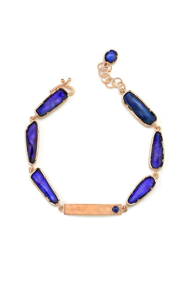 Gold Boulder Opal Lapis One-Of-A-Kind ID Bracelet