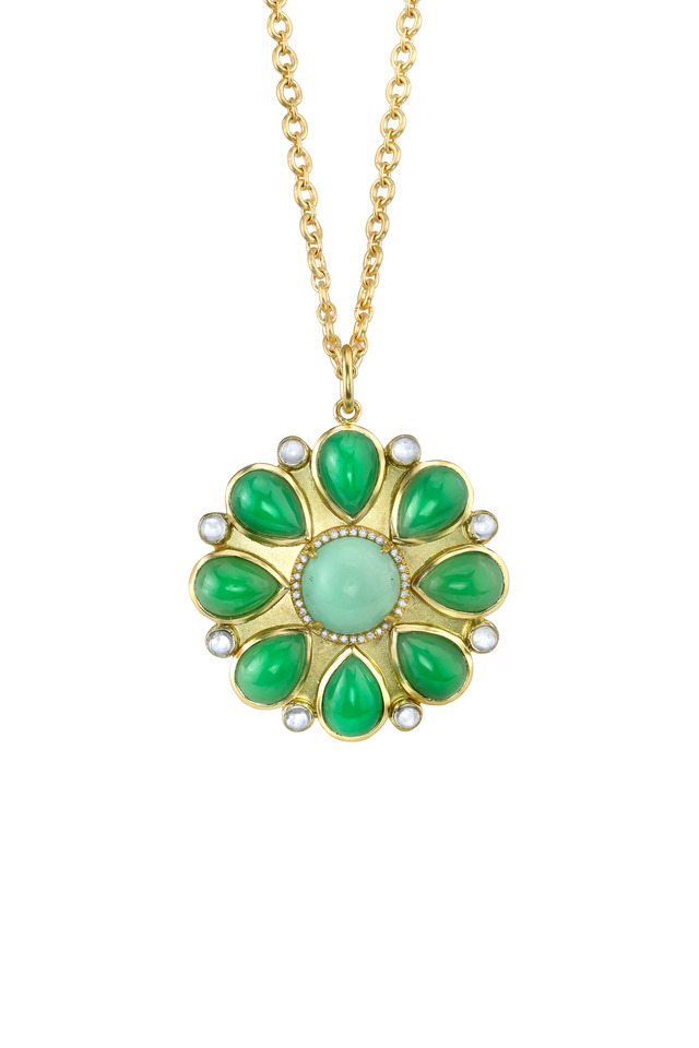 Gold Mint Chrysoprase Cluster Diamond Pendant