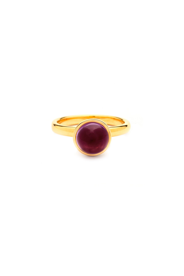 Gold Rhodolite Garnet Bauble Medium Stack Ring