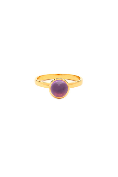 Syna - Yellow Gold Amethyst Bauble Stack Ring