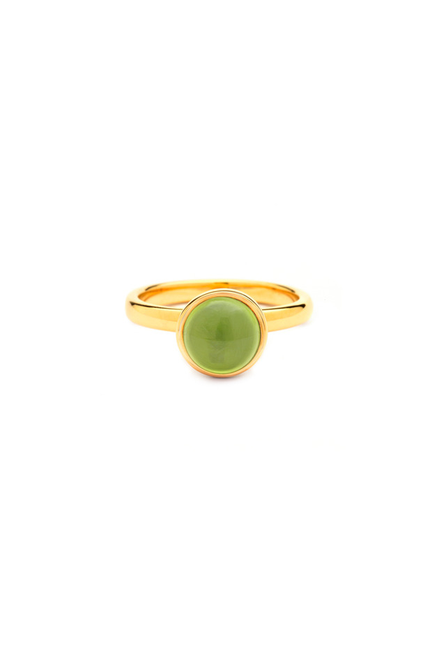 Yellow Gold Peridot Medium Stack Band