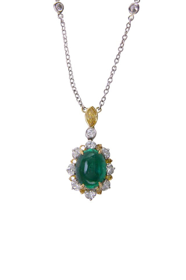 Platinum Emerald Diamond Pendant